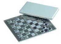 Schack (silver) Spel för resan med tryck