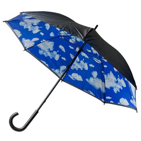 Blå / Svart Paraply med väder på insidan