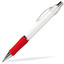Vit/Röd (Chrome) Billig reklampenna med skön skrivkänsla