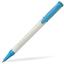 Klarblå Plastpennor i solida färger med reklamtryck