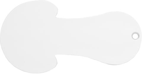 Vit 5- och 10-kroneformad kundvagnsmynt med reklamtryck