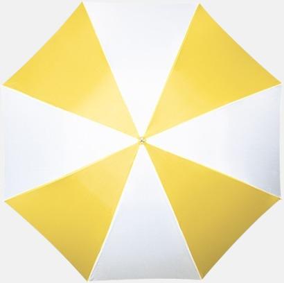 Vit / Gul Randigt paraply med ergonomiskt trähandtag