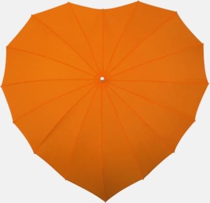 Orange Hjärtformade paraplyer med eget tryck