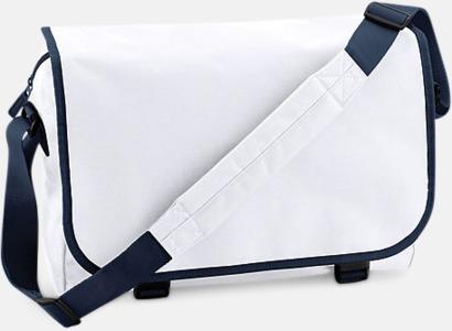 Vit/French Navy Billiga väskor med reklamtryck