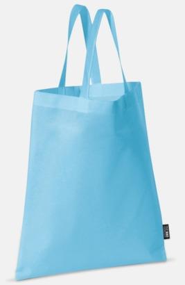 Ljusblå (korta handtag) Billiga kassar med korta eller långa handtag - med reklamtryck