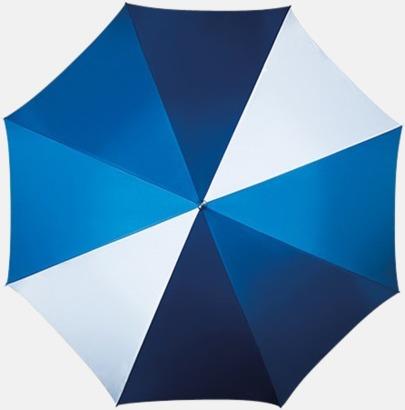 Multiblå/Vit Randigt paraply med ergonomiskt trähandtag