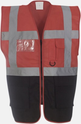 Röd/Svart Varselvästar med 2-färgade modeller - med reklamtryck