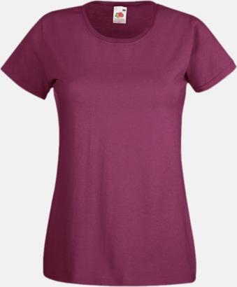 Burgundy Figursydd damt-shirt med reklamtryck