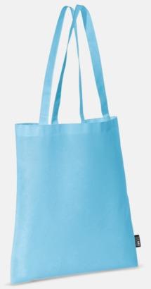 Ljusblå (långa handtag) Billiga kassar med korta eller långa handtag - med reklamtryck