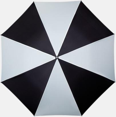 Svart / Vit Randigt paraply med ergonomiskt trähandtag
