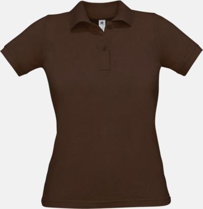 Brun Pikétröjor med tryck för dam