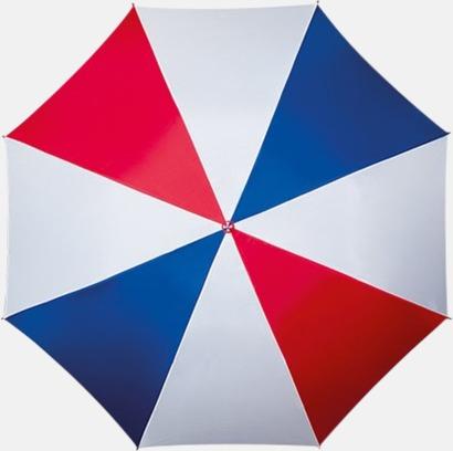 Blå/Röd/Vit Randigt paraply med ergonomiskt trähandtag