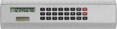 Vit / Silver Linjal med miniräknare
