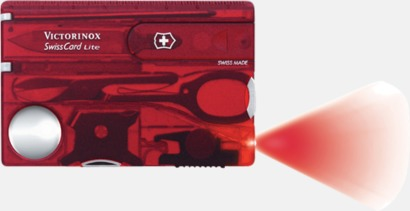 Transparent röd SwissCard Lite från Victorinox med reklamlogga
