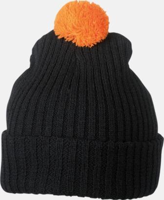 Svart / Orange Stickade toppmössor med reklambrodyr