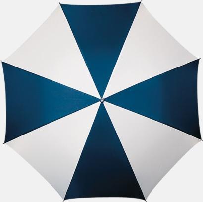 Marinblå / Vit Randigt paraply med ergonomiskt trähandtag