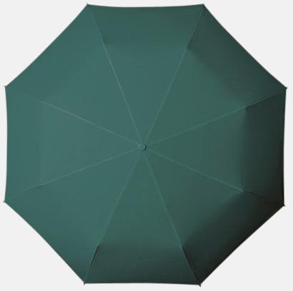 Mörkgrön Kompakt Paraplyer - Med tryck
