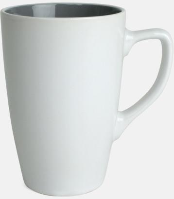 Vit/Grå Kaffemuggar med färgad insida