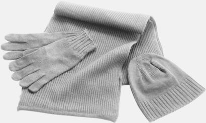 Ljusgrå Set med mössa, vantar och halsduk med reklambrodyr