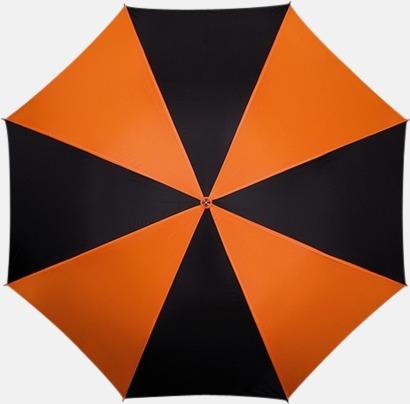 Orange / Svart Randigt paraply med ergonomiskt trähandtag