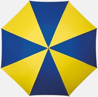 Blå / Gul Randigt paraply med ergonomiskt trähandtag