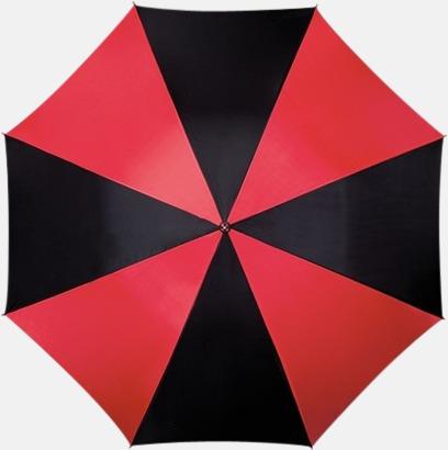 Röd / Svart Randigt paraply med ergonomiskt trähandtag