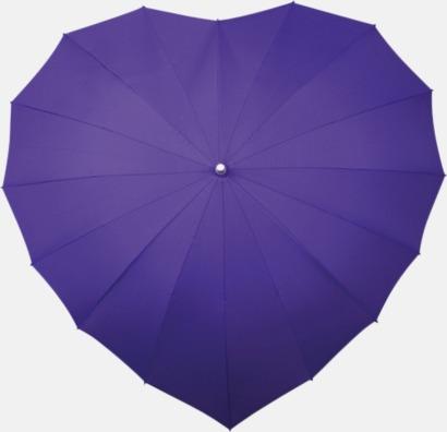 Lila Hjärtformade paraplyer med eget tryck