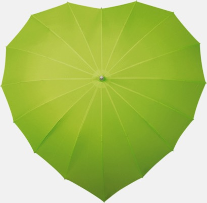 Limegrön Hjärtformade paraplyer med eget tryck