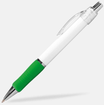 Vit/Grön (Chrome) Billig reklampenna med skön skrivkänsla