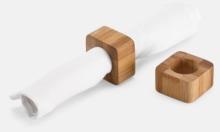 Set med 2 servettringar i bambu med reklamlogo
