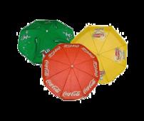 Stora och små parasoller med reklamtryck. Här hittar du även fötter som behövs för att ditt parasoll inte ska blåsa bort.