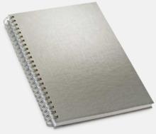 Silverfärgade anteckningsböcker med reklamtryck