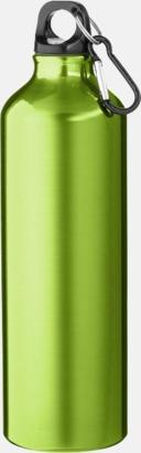 Svart Större sportflaskor med karbinhake - med reklamtryck